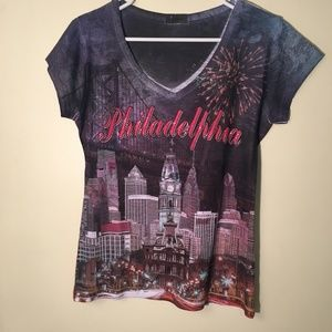 Philadelphia burnout shirt with skyline size M